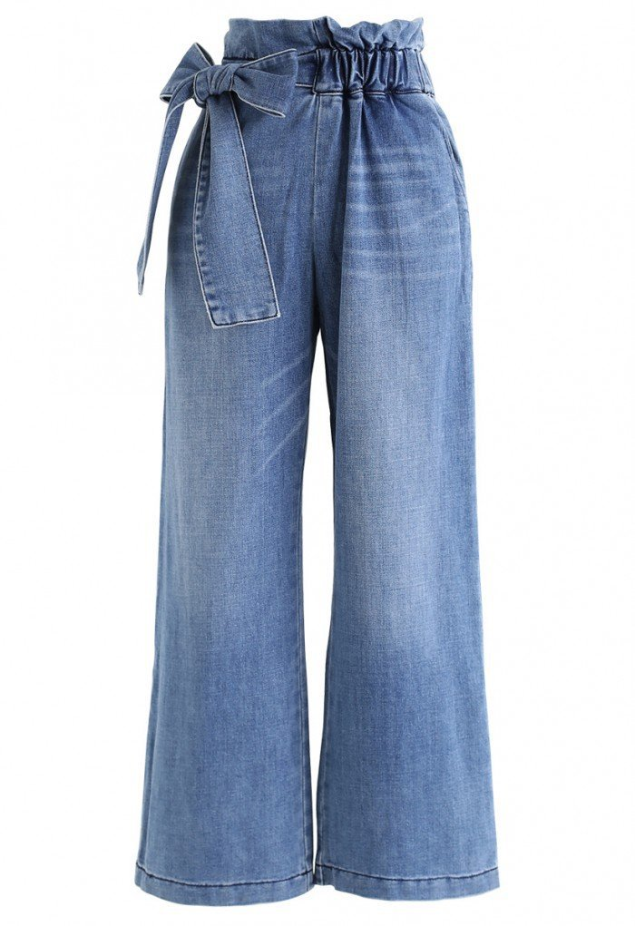 Bowknot High-Waisted Wide-Leg Jeans - NEW ARRIVALS - Retro, Indie and Unique Fashion