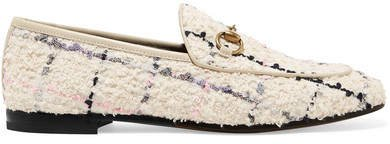 Jordaan Horsebit-detailed Leather-trimmed Bouclé-tweed Loafers - White