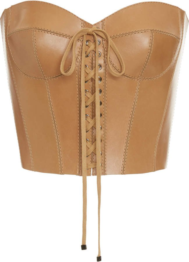 Dolce & Gabbana Leather Bustier Top Size: 36