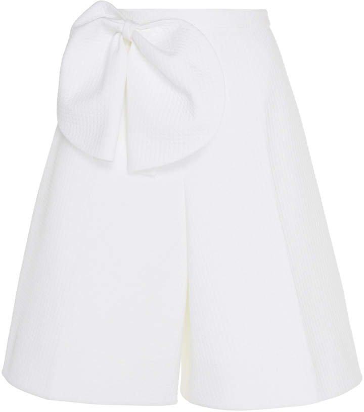 Cotton-Blend Bow Bermuda Shorts
