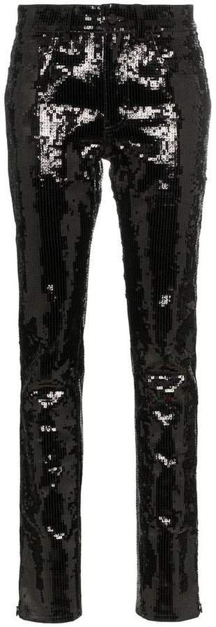 Sequin Embellished Slim-Fit Jeans