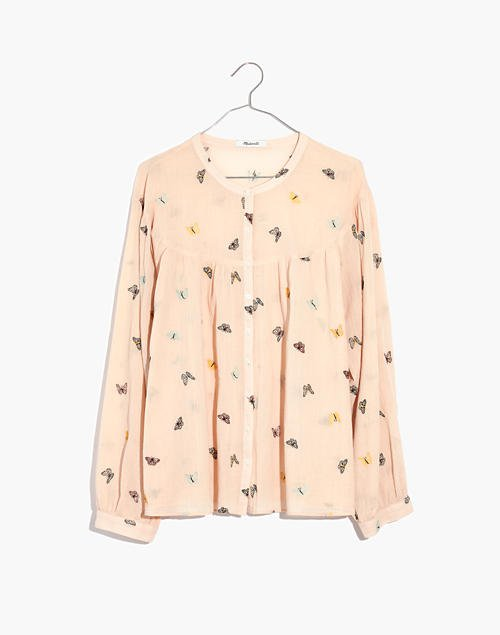 Butterfly Breeze Balloon-Sleeve Peasant Top