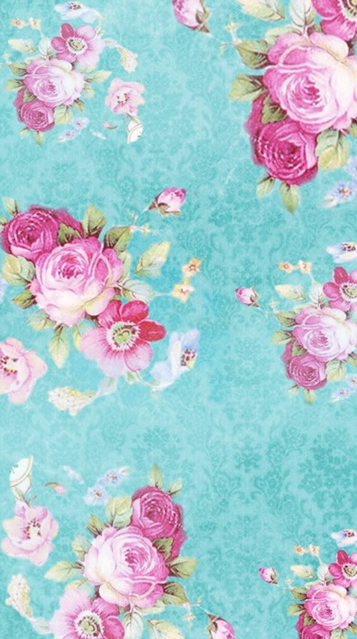 Floral Print Pink Roses on Aqua Background