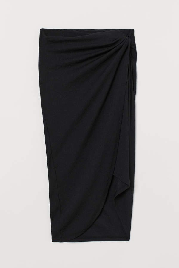 Draped Jersey Skirt - Black