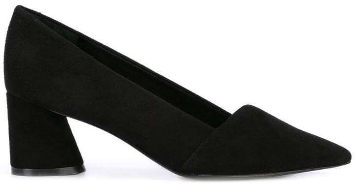 slanted block heel pumps