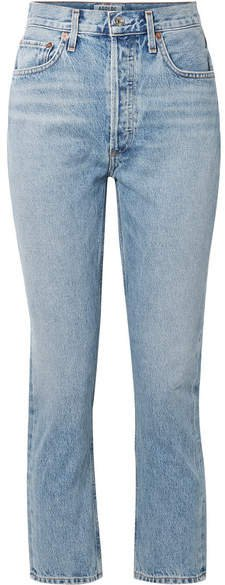 AGOLDE - Riley Cropped High-rise Straight-leg Jeans - Light denim