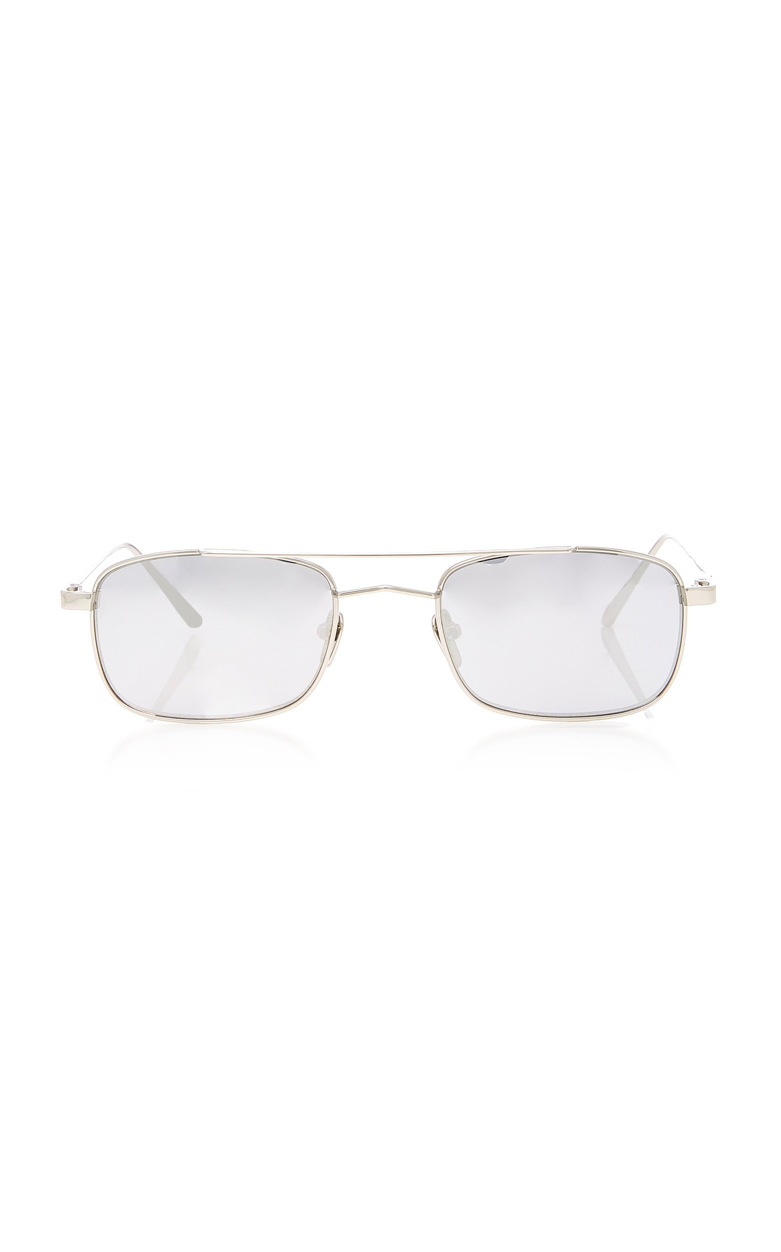 Linda Farrow White Gold Titanium Aviator Sunglasses
