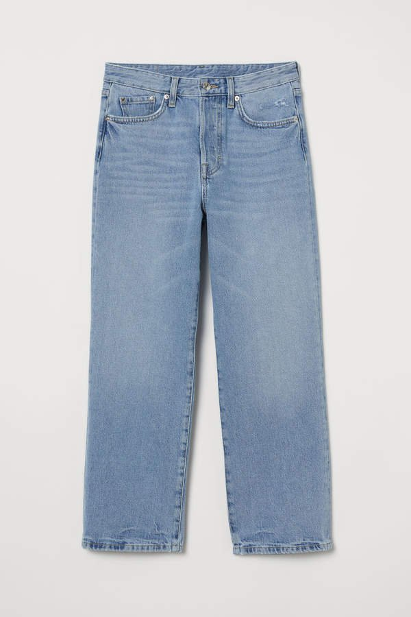 Straight High Ankle Jeans - Blue