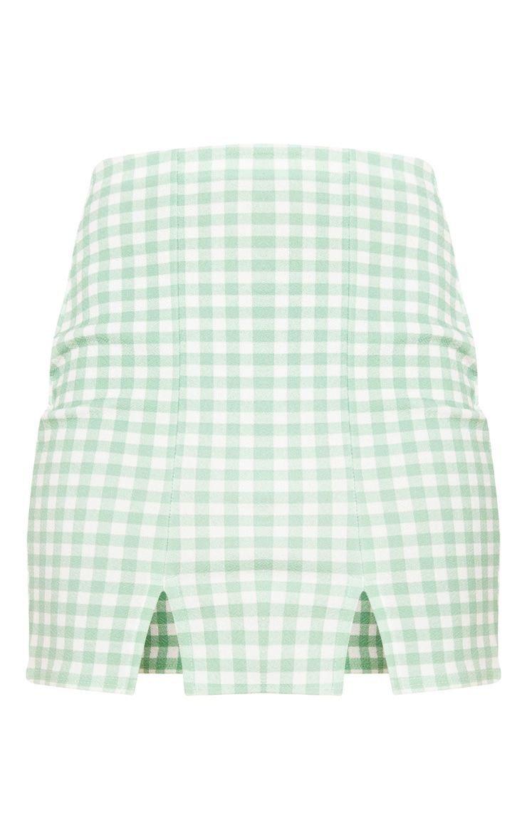 Mint Gingham Slit Front Mini Skirt   Skirts   PrettyLittleThing