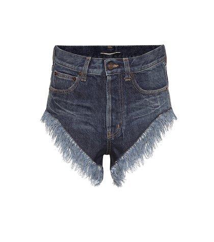 Fringed high-rise denim shorts
