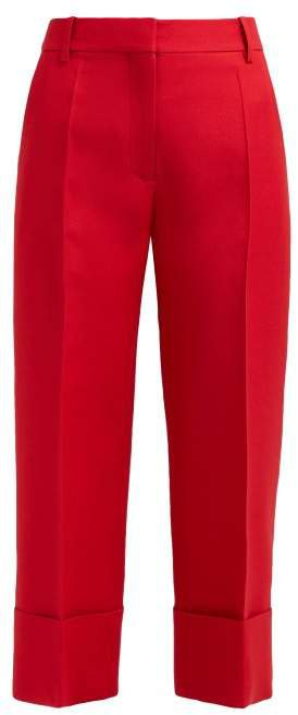 Virgin Wool Blend Cropped Trousers - Womens - Red