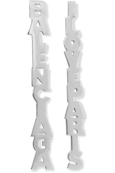 Balenciaga | Typo silver-tone earrings | NET-A-PORTER.COM