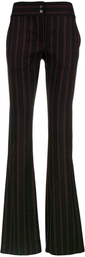Pre-Owned stripe flared tailored trousers