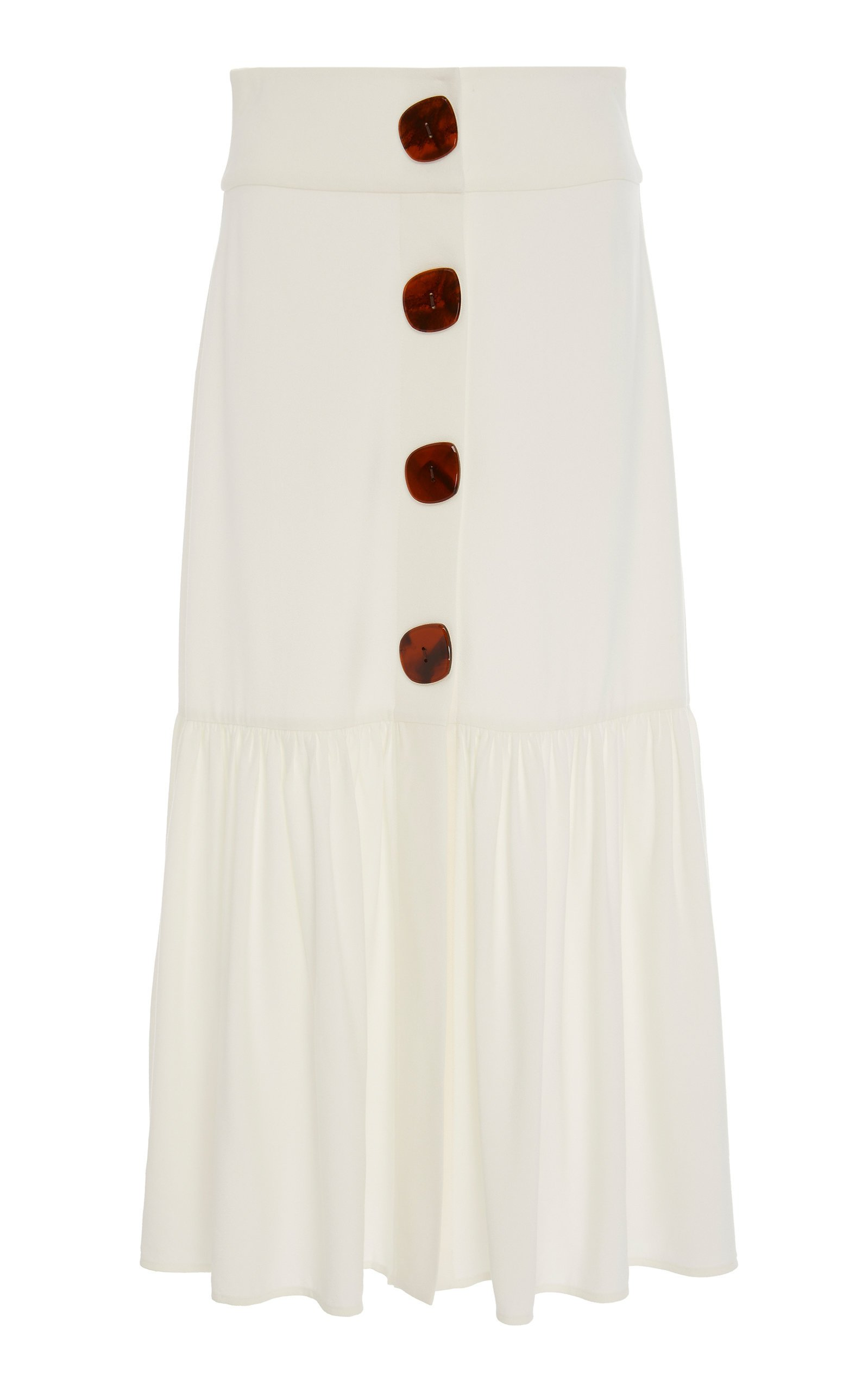 Adriana Degreas Buttoned Poplin Midi Skirt