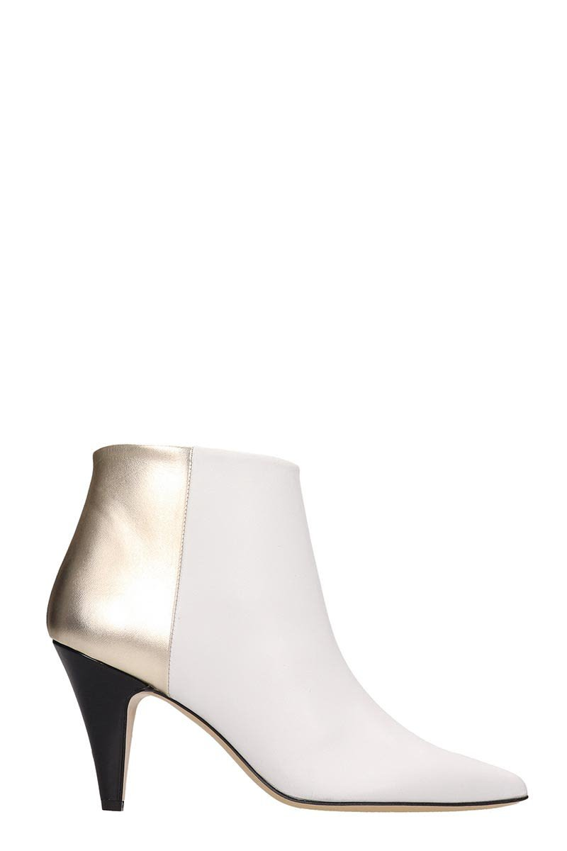 Alchimia White Gold Leather Ankle Boots