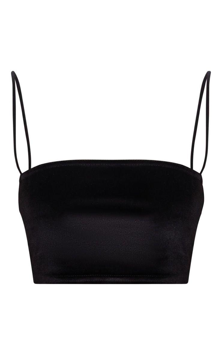 Black Velvet Strappy Crop Top | PrettyLittleThing USA