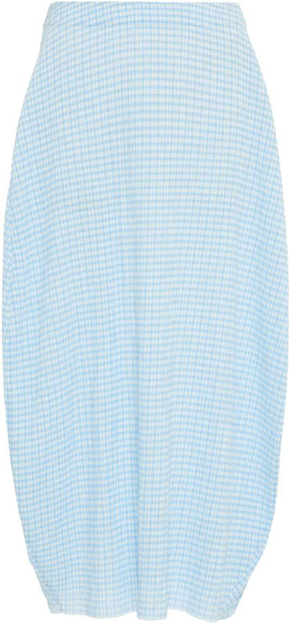 Checked Draped Midi Skirt