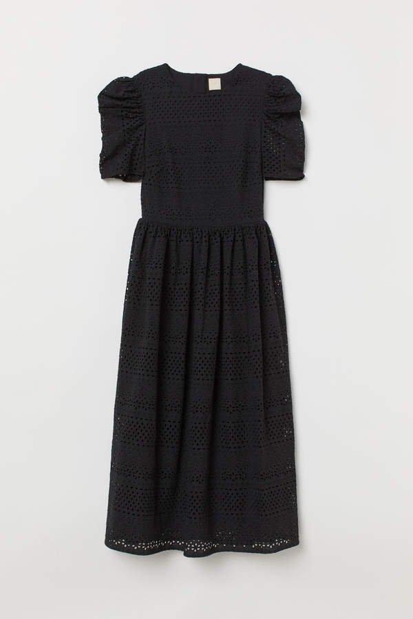 Puff-sleeved Dress - Black