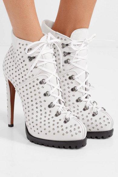 Alaïa | 135 eyelet-embellished leather ankle boots | NET-A-PORTER.COM
