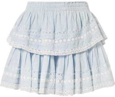 Riviera Tiered Crochet-trimmed Cotton-voile Mini Skirt - Sky blue