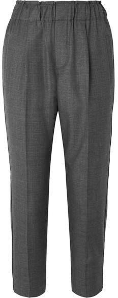 Cropped Bead-embellished Wool Tapered Pants - Gray