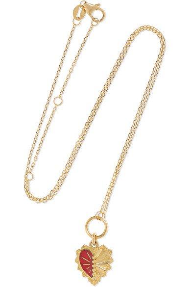 Foundrae | Mini Heart Love Token 18-karat gold and enamel necklace | NET-A-PORTER.COM