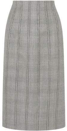 Lace-up Prince Of Wales Checked Wool And Silk-blend Skirt