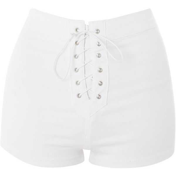 white lace up shorts