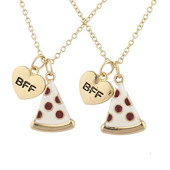 Amazon.com: Lux Accessories Goldtone Enamel Pizza Emoji BFF Best Friend Forever Necklace 2Pc: Clothing
