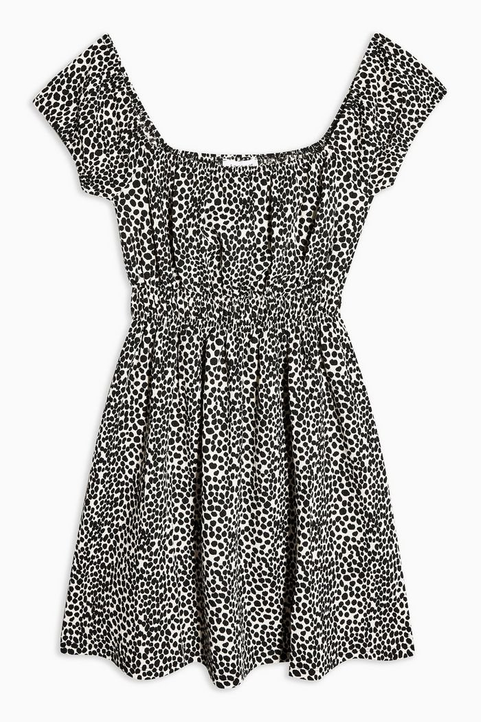 Spot Shirred Mini Dress | Topshop