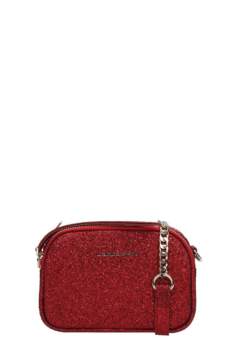 Lancaster Paris Red Glitter Mini Crossbody Bag