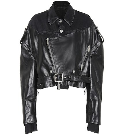 Leather and denim jacket