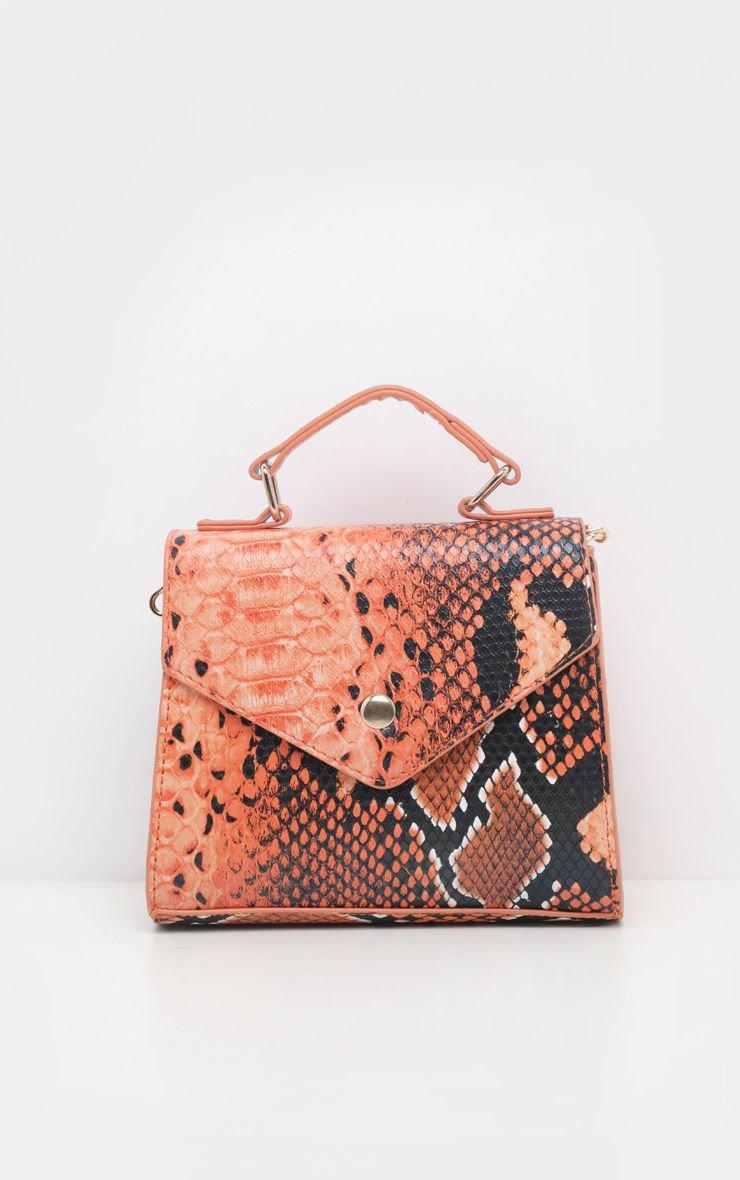 Orange Snake Envelope Mini Cross Body Bag | PrettyLittleThing