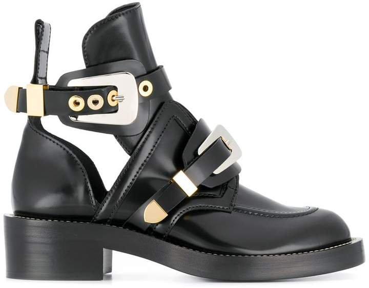Black Ceinture Leather ankle boots