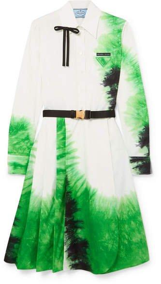Belted Tie-dye Cotton-poplin Dress - White