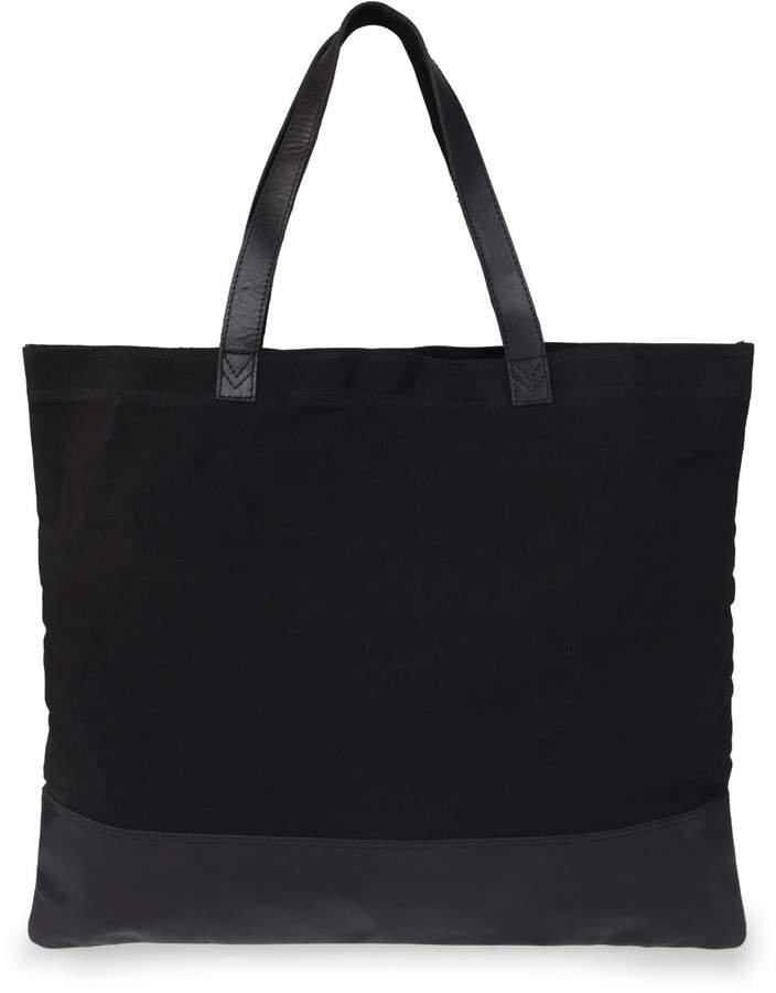 Vida Vida Canvas Leather Black Tote Bag