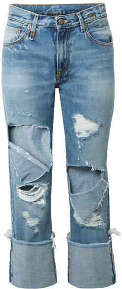 Bowie Cropped Distressed Mid-rise Straight-leg Jeans - Mid denim
