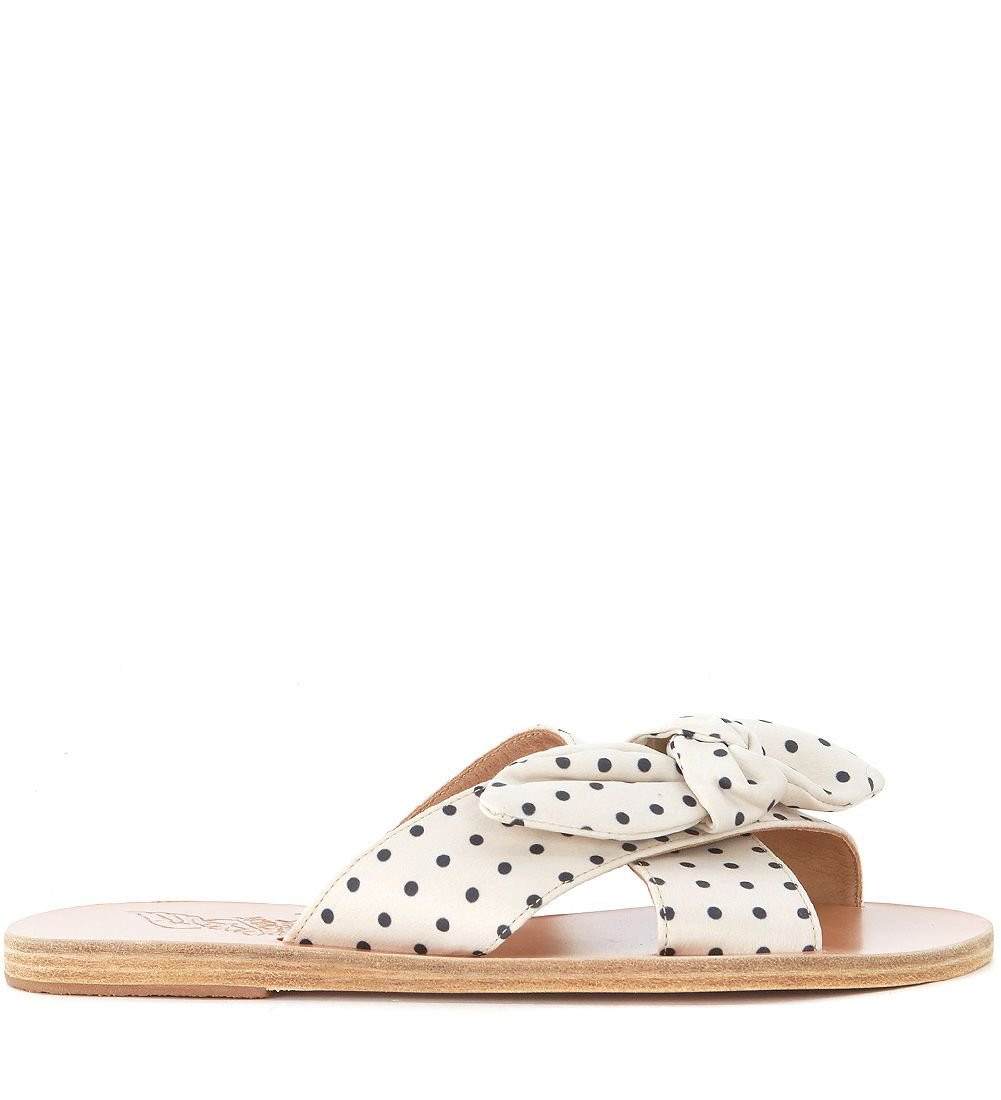 Ancient Greek Thais Black And White Polka Dot Leather Sandals
