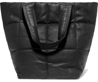 Quilted Textured-leather Tote - Black