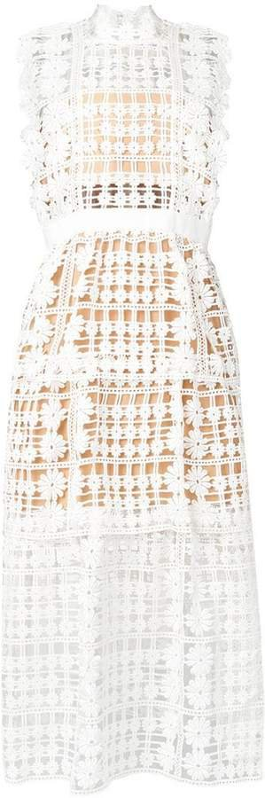 crochet-lace midi dress