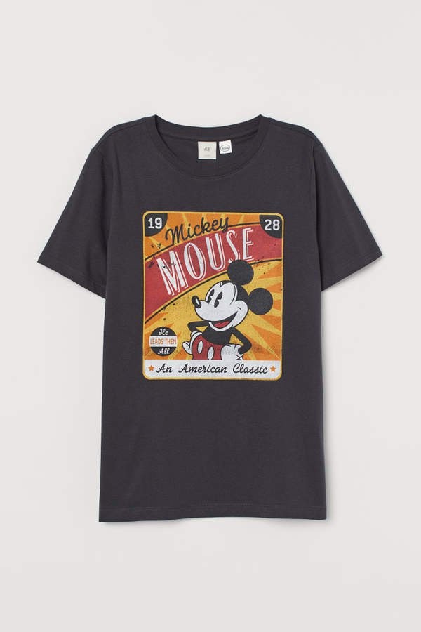 T-shirt with Motif - Gray