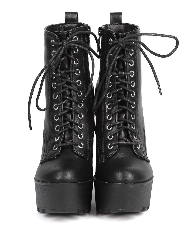 Black Platform Heel Combat Boots
