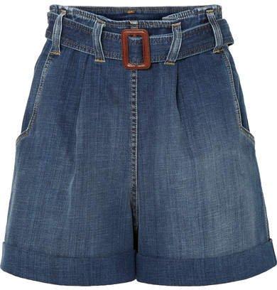Belted Denim Shorts - Blue
