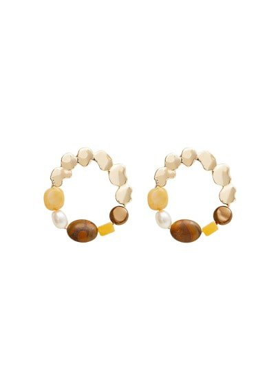 MANGO Bead loop earrings