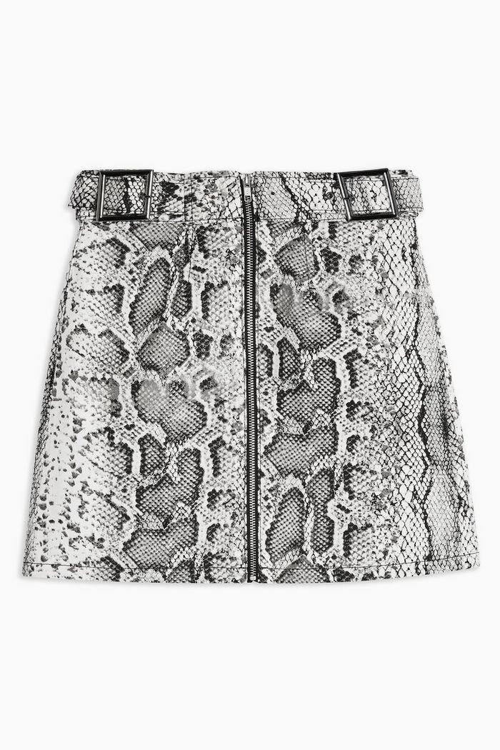 Snake Print Denim Buckle Skirt | Topshop grey