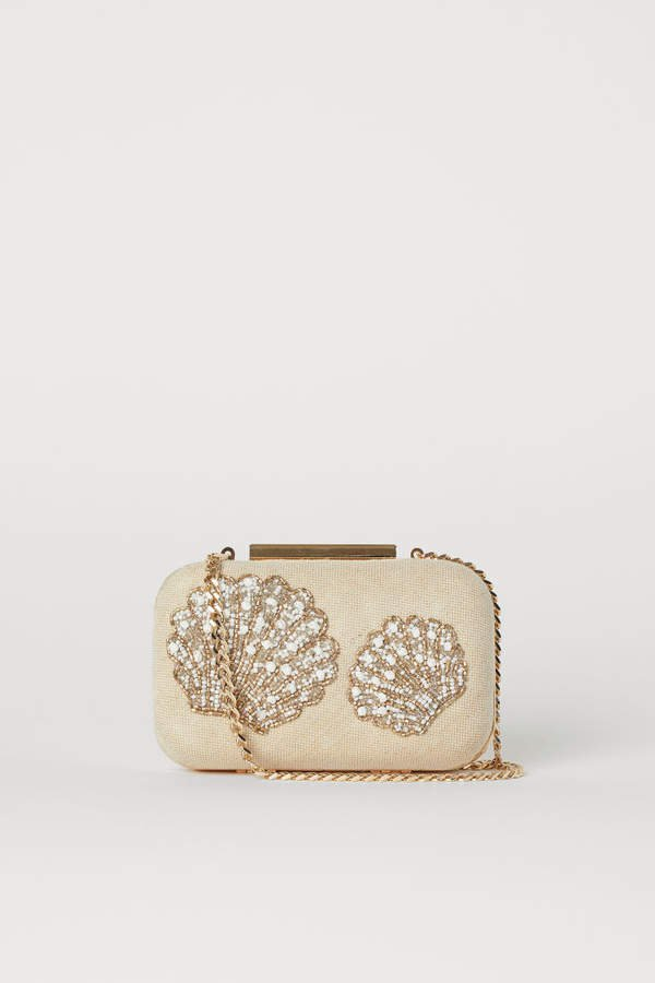 Clutch with Beaded Embroidery - Beige