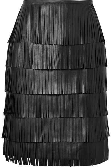 Fringed Leather Skirt - Black