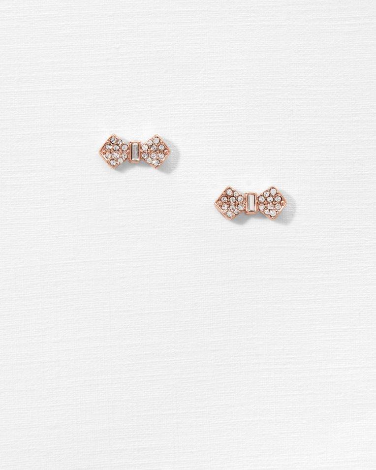 Crystal bow earrings - Rose Gold   Jewellery   Ted Baker UK