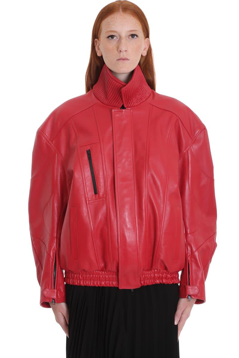 Balenciaga Leather Jacket In Red Leather