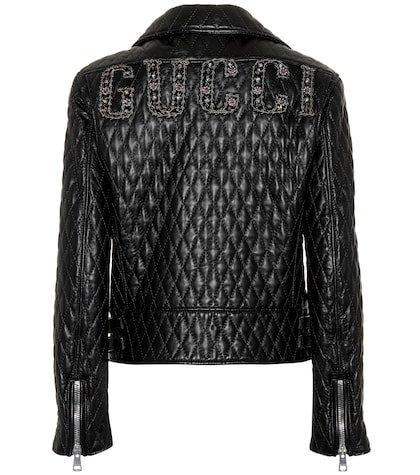 Matelassé leather jacket